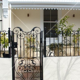 Iron gate with fence panels