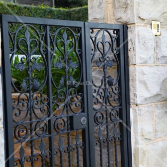 Secure entry gate wrought iron