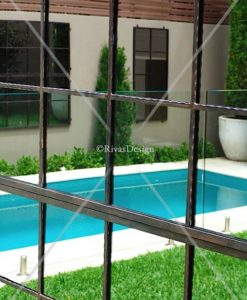 Iron outdoor mirrors poolside