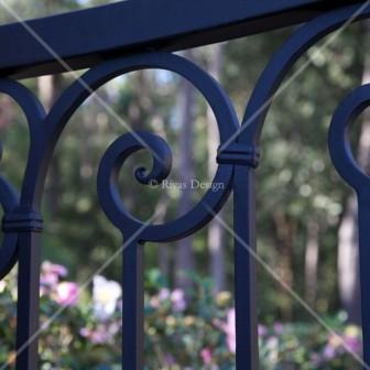 Iron driveway gate detail