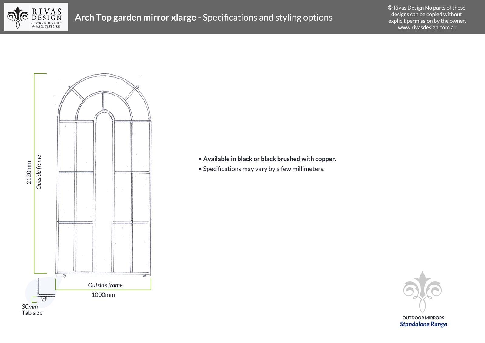 Arch Top garden mirror xlarge