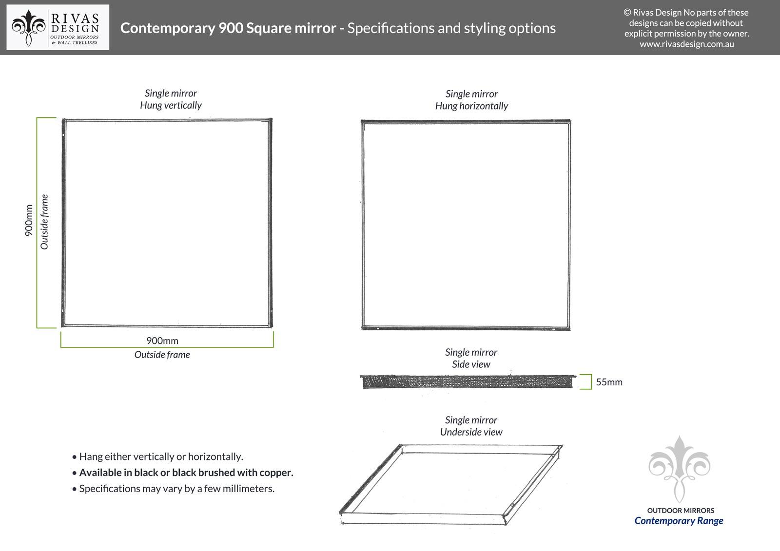 Contemporary 900 Square mirror