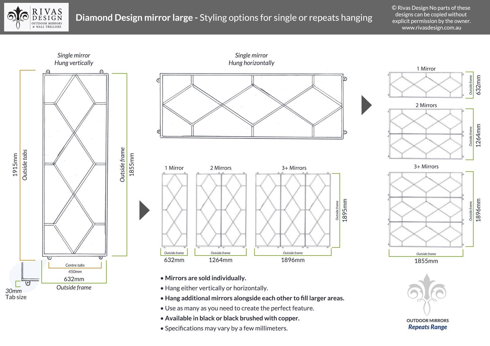 Diamond Design outdoor mirror large