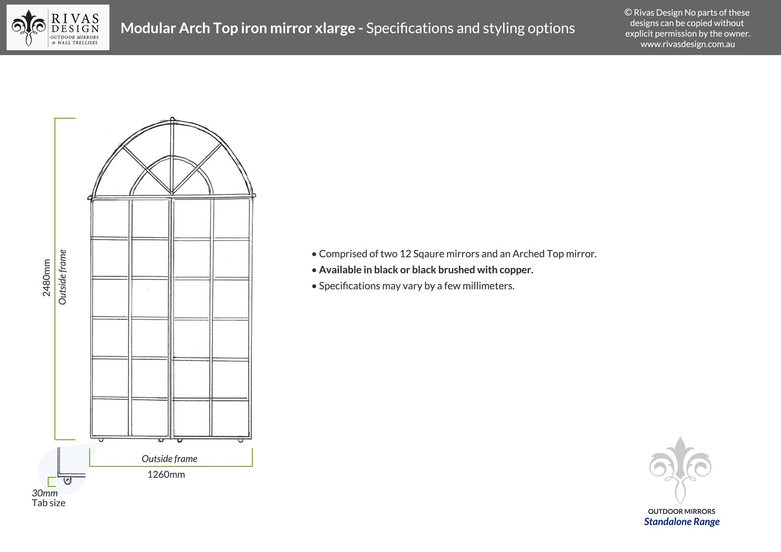 Modular Arch Top iron mirror xlarge