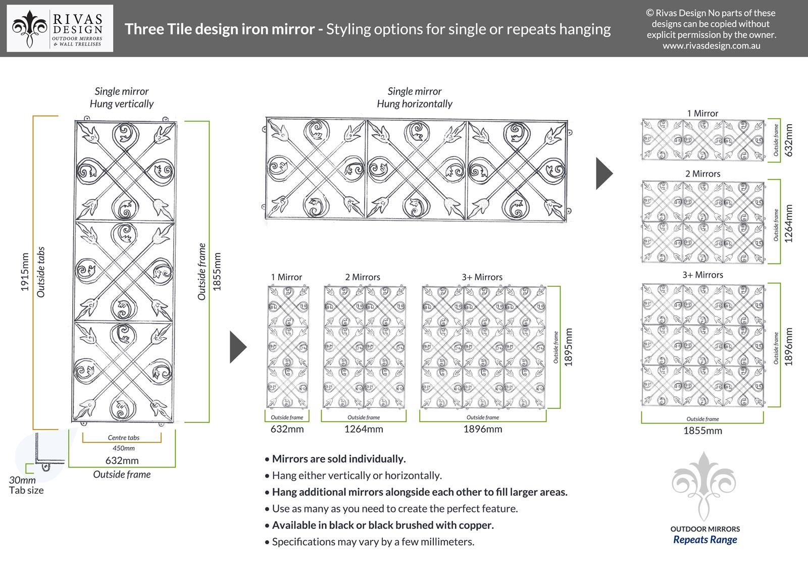 Three Tile design iron mirror