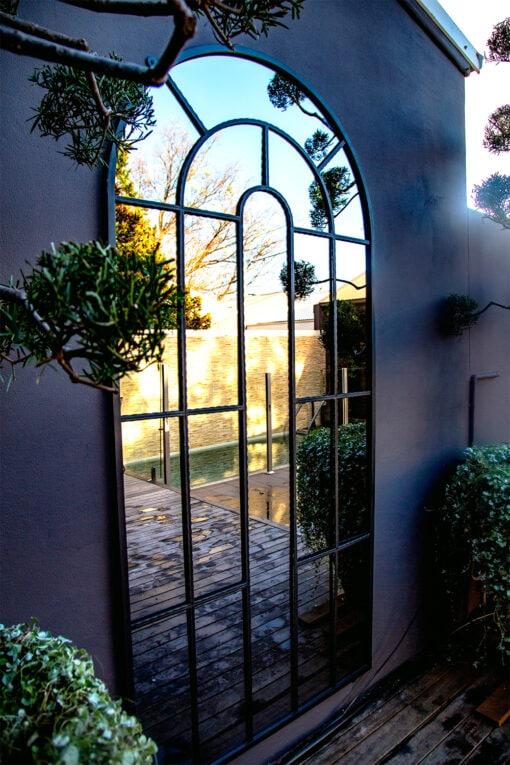 large Arch Top iron garden mirror Sydney 7 Fotor