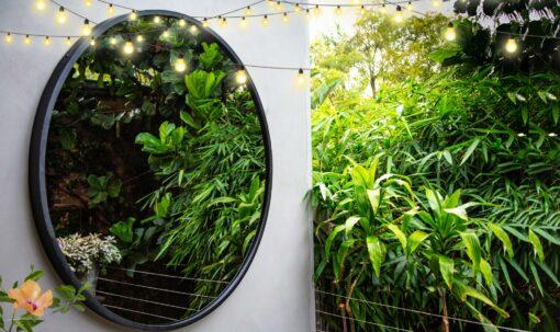 RivasDesign1200mm Contemporary garden mirror hibiscus
